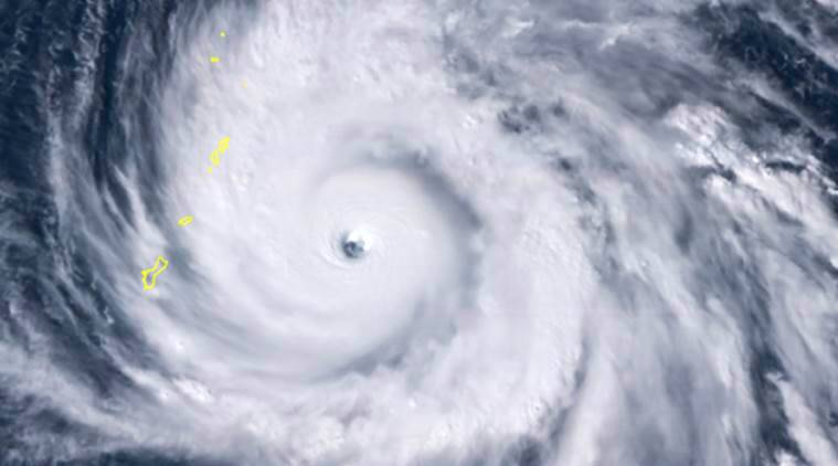 Satellite imagery provided by the National Oceanic and Atmospheric Administration shows Typhoon Yutu as it approached the Northern Mariana Islands.