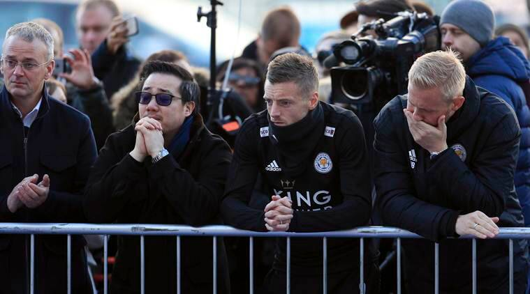 Leicester players return to stadium to pay their respects to Vichai Srivaddhanaprabha