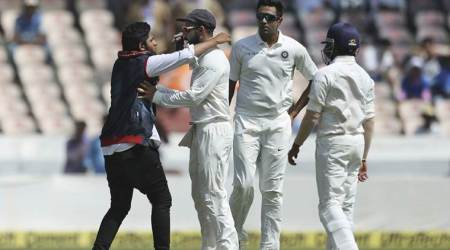 India vs West Indies 2nd Test: Fan invades pitch once again to click selfies with Virat Kohli