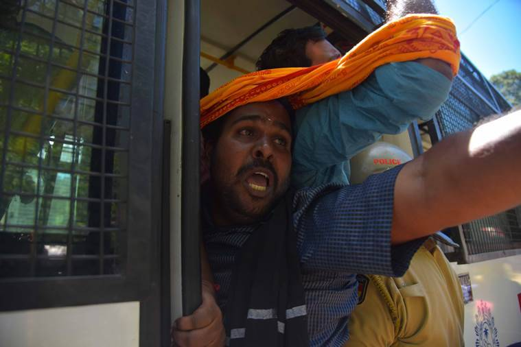 A BJP youth wing protester