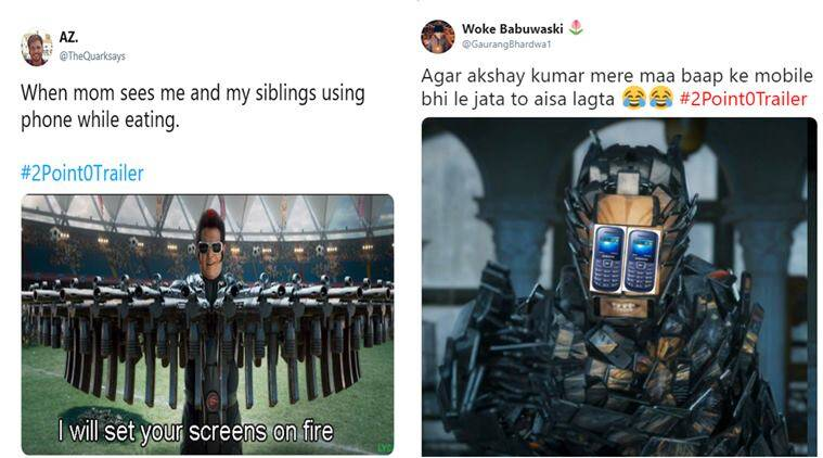 robot 2.0, 2Point0, rajinikanth, akshay kumar, shankar, 2.0 movie trailer, 2.0 movie, 2Point0 trailer reactions, 2.0 trailer memes, 2.0 trailer jokes, rajinikanth jokes, rajinikanth memes, indian express, viral news