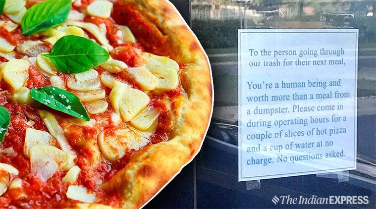 act of kindness, little caesar, pizza store offer free food to homeless, pizza outlet give food to hungry, viral news, good news, Fargo little caesar offer free pizza, indian express