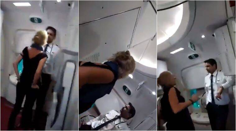 air india, air india crew abused, irish woman abuse air india crew, drunk passenger misbehaves in flight, viral videos, indian express, india news