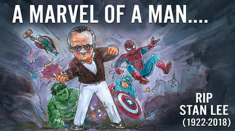 stan lee, amul, stan lee dead, amul cartoon stan lee, latest amul cartoon, amul stan lee tribute, marvel comic, stand lee cartoons, indian express, viral news