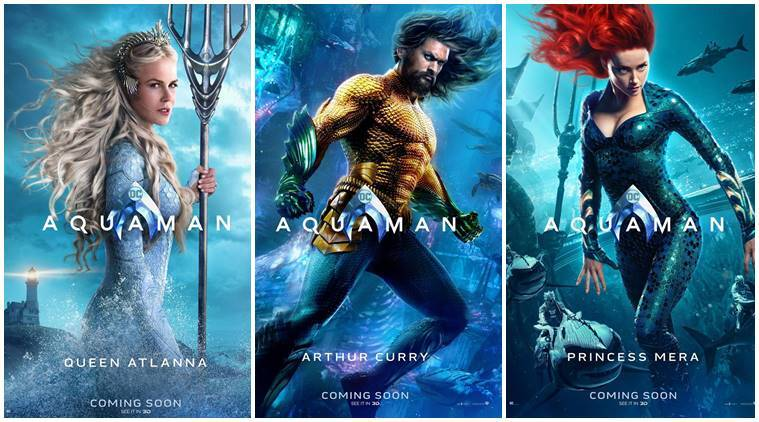 New Aquaman character posters present a colourful DC comic-book film