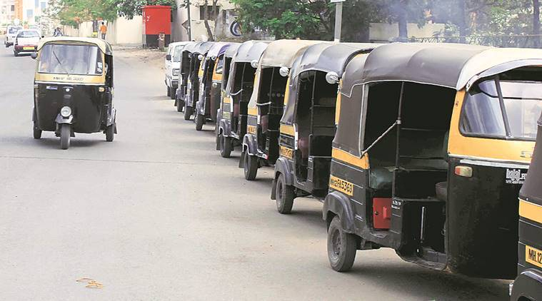 Auto strike, auto union call for strike, auto union protest against bad roads, auto roads protest against municipal buses, Maharashtra, Mumbai news,  Indian Express