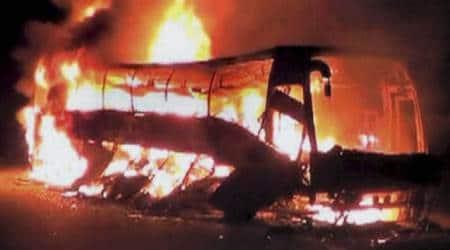 Chhattisgarh, Chhattisgarh news, Chhattisgarh naxals, Chhattisgarh naxal violence, naxals burn bus, bus on fire, naxals torch bus,