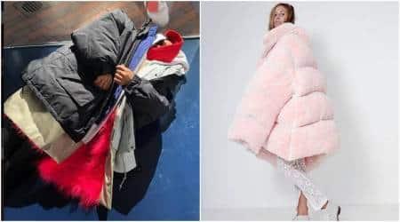 Rihanna, Kendall Jenner, Kylie Jenner, giant jackets, oversized jackets, oversized coats, balenciaga, winter fashion, winter jackets, celeb fashion, indian express, indian express news