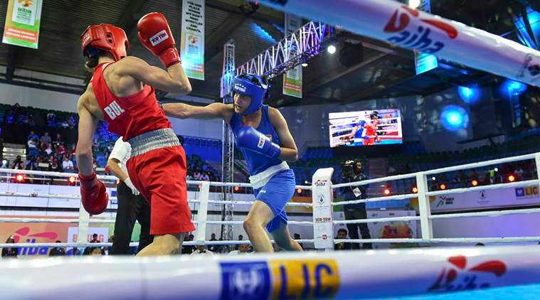 India's Sonia Chahal (in blue) in action against Stanimira Petrova of Bulgaria during the women's light flyweight 57 kg category bout at AIBA Women's World Boxing Championships, in New Delhi