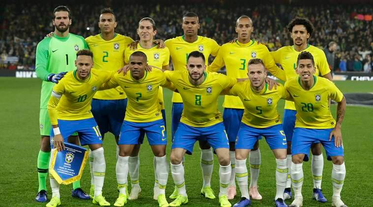 Brazil team pose before the international friendly soccer match between Brazil and Uruguay at the Emirates Stadium, London
