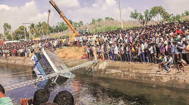 15 killed as bus plunges into canal in Karnataka
