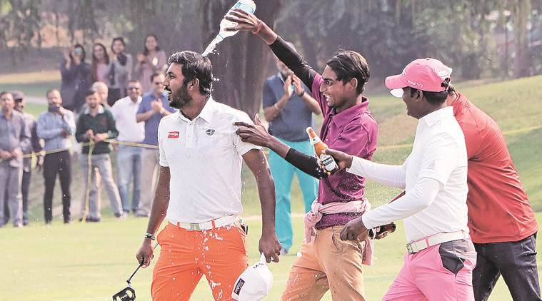 Chikkarangappa after winning Jeev Milkha Singh Invitational Golf Tournament at Chandigarh Golf Club on Sunday. (Express Photo/ Kamleshwar Singh)
