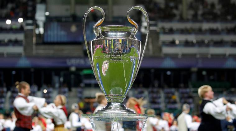 General view of the Champions League trophy before the match