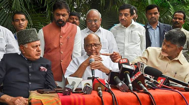 National Conference president Farooq Abdullah , NCP chief Sharad Pawar and Chandrababu Naidu address the media after holding a meeting earlier in the day. (PTI)