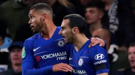 Chelsea's Ruben Loftus-Cheek and Davide Zappacosta celebrate after Derby County's Richard Keogh (not pictured) scored an own goal and the second goal for Chelsea.