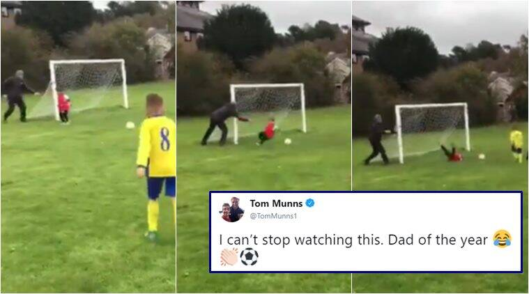 dad push son to save goal, dad soccer lesson videos, dad football coaching videos, best dad videos, best father videos, viral videos, funny baby videos, indian express