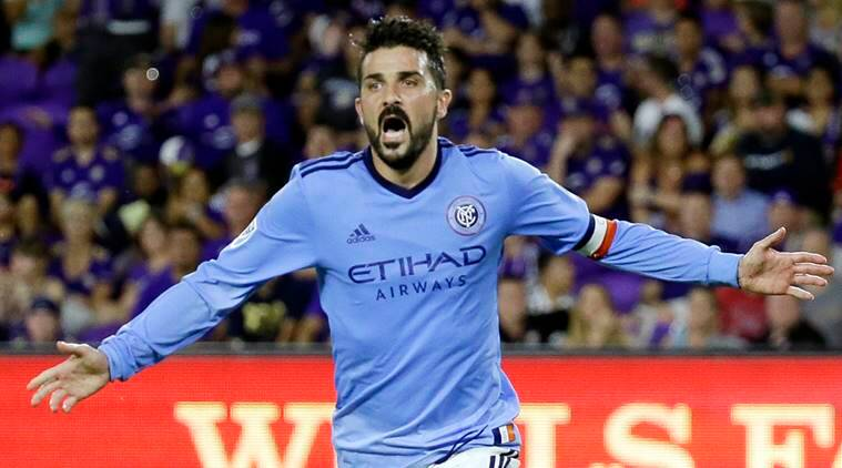New York City FC's David Villa (7) celebrates his second-half goal during an MLS soccer game against Orlando City in Orlando, Fla.
