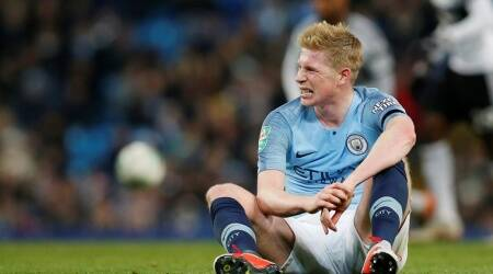 Manchester City's Kevin De Bruyne after sustaining an injury