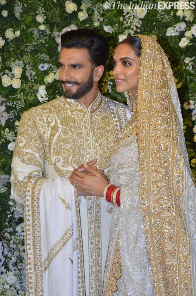 deepika padukone and ranveer singh at reception in mumbai