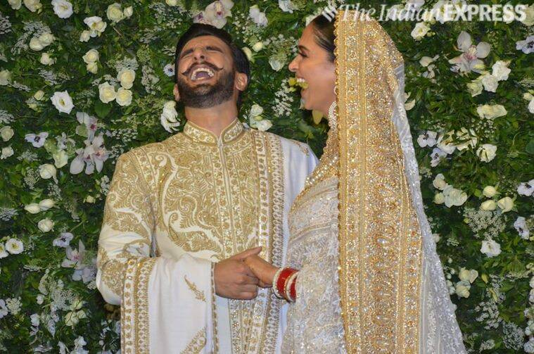 deepika padukone and ranveer singh at reception in mumbai