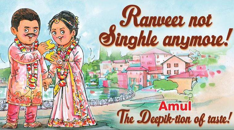 'Ranveer, not Singhle anymore': Amul celebrates Bollywood couple wedding with adorable doodle