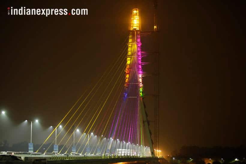 Delhi's Signature bridge illuminates on its inauguration eve