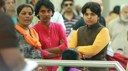 Women's rights activist Trupti Desai at the Cochin International Airport on Friday. (Express photo/Nithin RK)