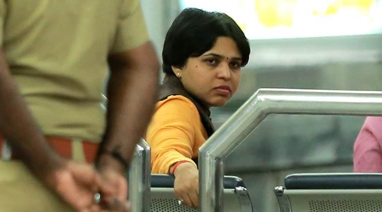 Desai, who arrived at the airport in the early hours with young six women colleagues, said she would return as police informed her that there would be law and order problem if she visited the shrine. (Express photo/Nithin RK)