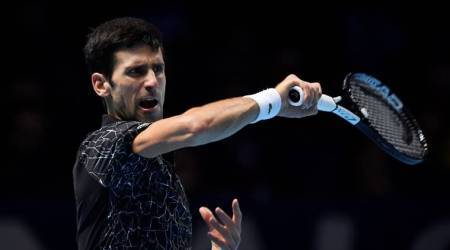 Serbia's Novak Djokovic in action during his semi final match against South Africa's Kevin Anderson at the ATP Finals in London