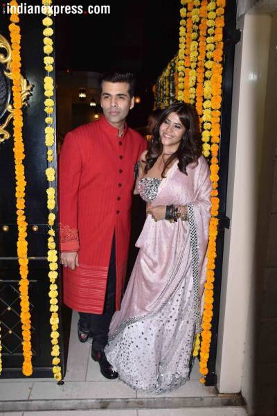 ekta kapoor and karan johar at diwali party