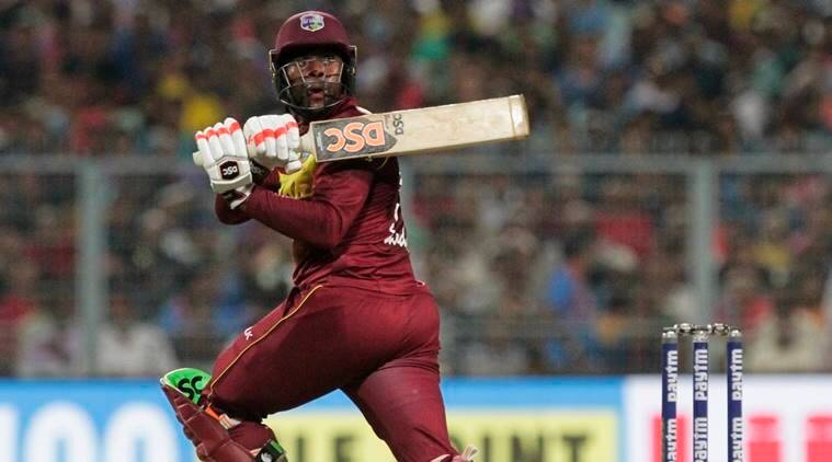 West Indies' Fabian Allen bats during the first Twenty20 international cricket match between India and West Indies in Kolkata, India
