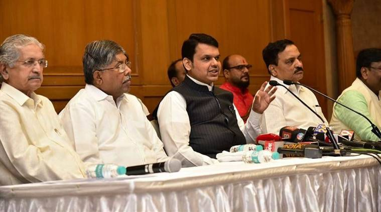Maharashtra Chief Minister Devendra Fadnavis at the Cabinet meeting on Sunday. (Twitter/@CMOMaharashtra)