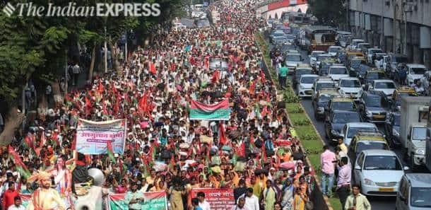 maharashtra farmers protest at azad maidan in mumbai