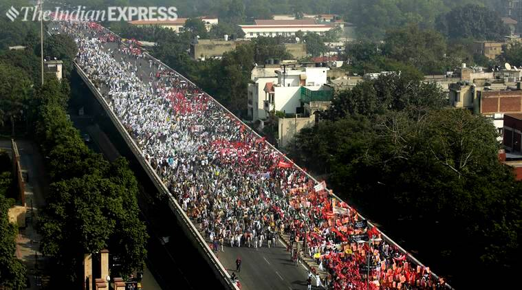 Sea of distressed farmers march to Parliament Street, opposition parties join in show of strength