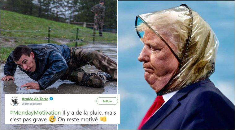 donald trump, rememberance day, world war I, trump paris rain tribute, trump cancel WWI wreath ceremony for rain, viral news, trump memes, indian express