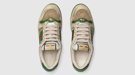 """Distressed"" GG canvas sneakers, distressed shoes, gucci sneakers distressed, gucci old sneakers dirty $870, indian express, indian express news"