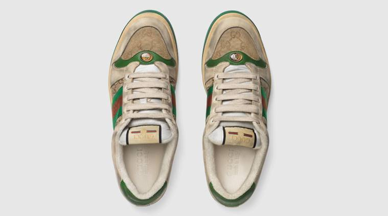 "79ae9379e ""Distressed"" GG canvas sneakers, distressed shoes, gucci sneakers  distressed, gucci old. """