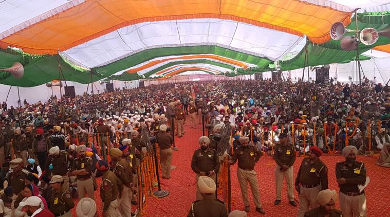 The gathering at the ceremony in Gurdaspur on Monday. (Express photo)