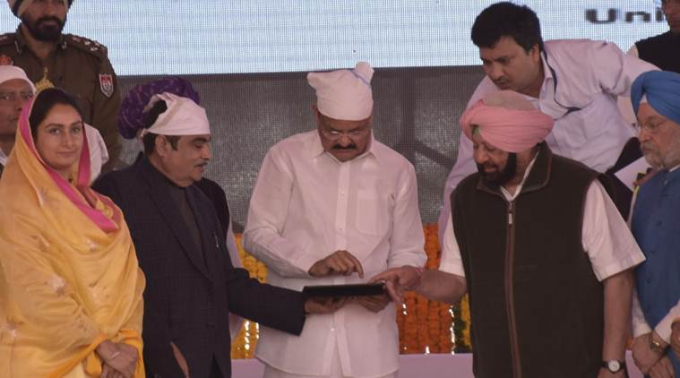 Besides laying the foundation stone of the project, Amarinder Singh announced projects worth Rs 139 crore for Dera Baba Nannak. (Express photo/Simranjit Singh Rana)