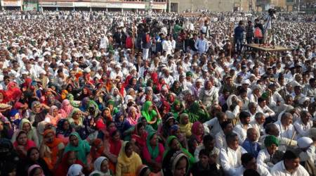The crowd at the Jind rally on Saturday. (Express photo)