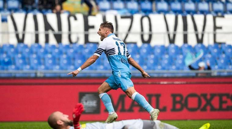 Lazio's Ciro Immobile celebrates after scoring his side's 2nd goal during the Serie A soccer match between Lazio and Spal at the Olympic stadium in Rome, Sunday, Nov. 4