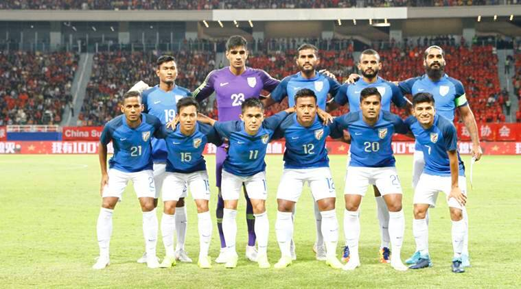 India football team pose for a picture before start of friendly against China