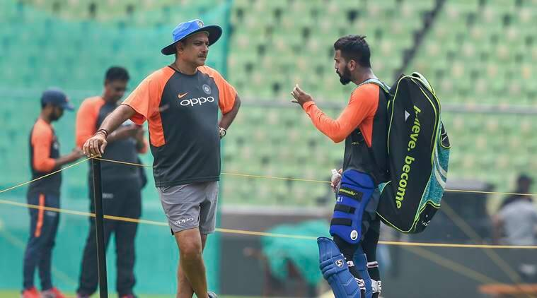 Indian cricketer KL Rahul with head coach Ravi Shastri during a practice session ahead of the 5th and final ODI cricket match against West Indies, at Greenfield International Stadium in Thiruvananthapuram