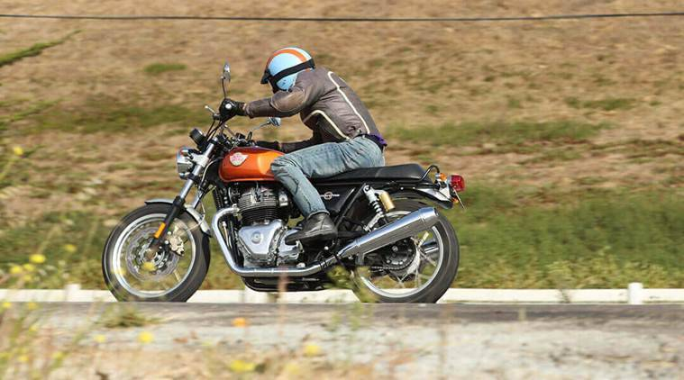 The Interceptor INT 650 sports a teardrop tank with traditional knee recesses, quilted dual seat and other features. (Royal Enfield official website)