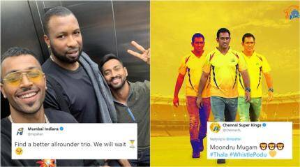 This photo by Hardik Pandya leads to an epic Twitter banter among IPL teams
