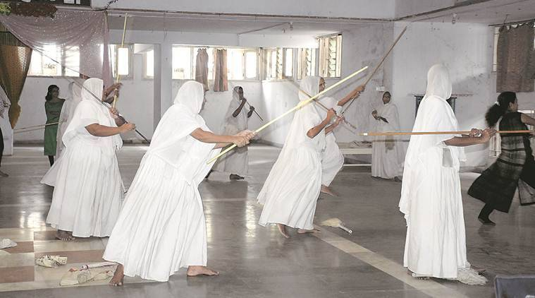 With sticks in their hands, woman Jain monks in Surat train thrice a week for self defence