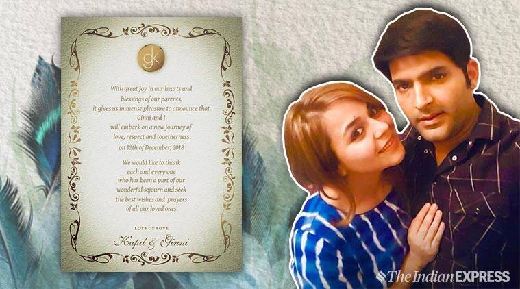 kapil sharma shares his wedding card to tie the knot on