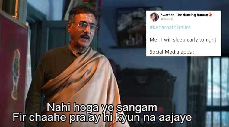 kedarnath, kedarnath trailer, sushant singh rajput, sara ali khan, kedarnath trailer memes, kedarnath trailer jokes, kedarnath memes, bollywood memes, indian express, viral news