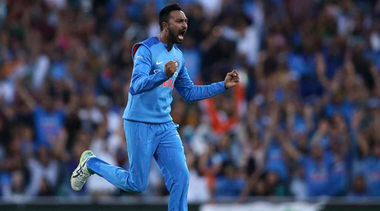 India's Krunal Pandya celebrates after taking the wicket of Australia's Ben McDermott during their Twenty20 cricket match in Sydney