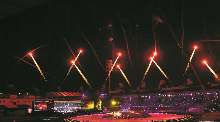 Firecrackers light up the sky during the inaugural ceremony of men's hockey World Cup 2018, in Bhubaneswar